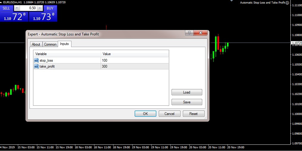EA For Automatic Stop Loss and Take Profit 5 Digit Broker
